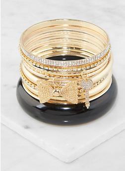 Plus Size Rhinestone Charm Bangles - 3194062922462