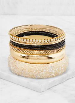 Plus Size Set of 10 Assorted Bangles - 3194062922814