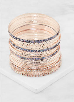Plus Size Set of Assorted Metallic Bangles - 3194062922816