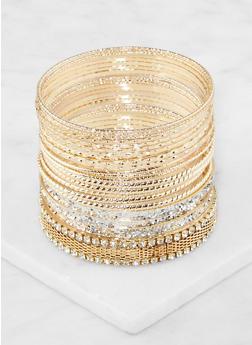 Plus Size Set of Assorted Metallic Bangles - 3194062922816