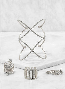 Rhinestone Cuff with Assorted Rings - 3194062923188