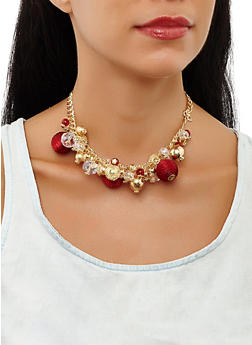 Beaded Collar Necklace and Earrings Set - 3194062923856