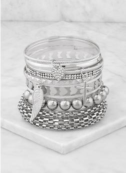 Plus Size Metallic Heart Bangles - 3194062924071