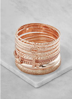 Plus Size Glitter Metallic Bangles - 3194062924077