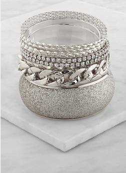 Plus Size Glitter Metallic Bangles - 3194062925265