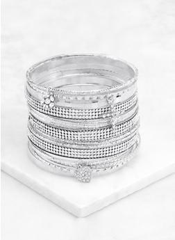 Plus Size 18 Textured Metallic Bangles - 3194062927578