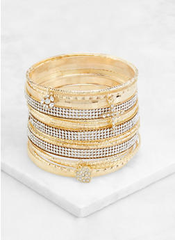 Plus Size 18 Textured Metallic Bangles - 3194062927578