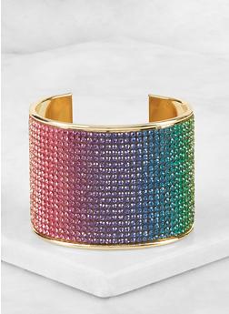 Rainbow Rhinestone Cuff Bracelet - 3194067254203