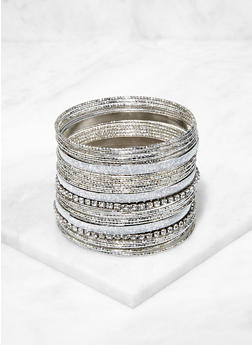 Plus Size Assorted Glitter Metallic Bangles - 3194067257499