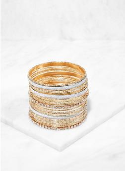 Plus Size Assorted Glitter Metallic Bangles - 3194067257499