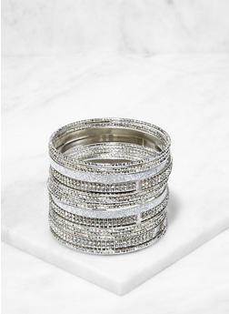 Set of Assorted Rhinestone Glitter Bangles - 3194067257525