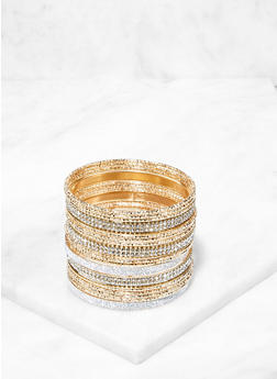 Set of Assorted Rhinestone Glitter Bangles - 3194067257525