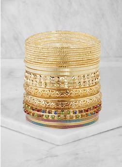 Plus Size Glitter Metallic Textured Bangles - 3194067257806