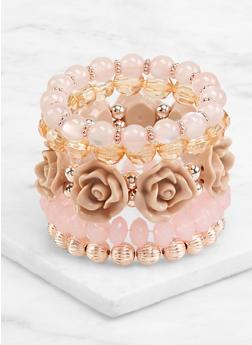 Flower Beaded Stretch Bracelets - 3194071433026