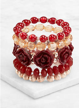 Rose Bud and Beaded Stretch Bracelets - 3194071433026