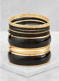 Painted Metallic Bangles Set - 3194071433930