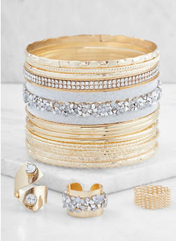 Plus Size Set of Assorted Bangles and Rings - 3194072691656