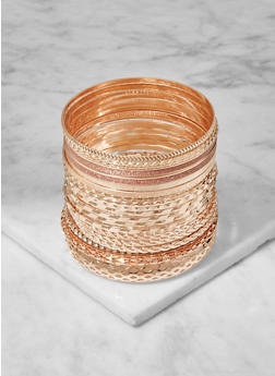 Plus Size Assorted Metallic Bangles - 3194072692588