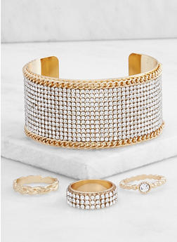 Rhinestone Cuff Bracelet with Ring Trio - 3194072692696