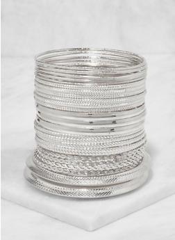 Plus Size Metallic Bangles Set - 3194072693212