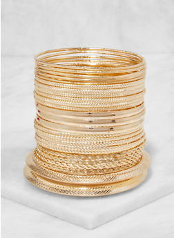 Plus Size Metallic Bangles Set - 3194072693212