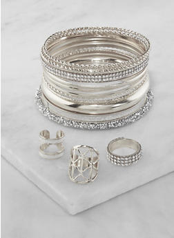 Plus Size Set of Assorted Bangles and Rings - 3194072693363