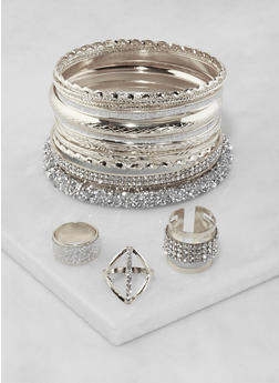 Plus Size Rhinestone Bangles and Rings - 3194072693365
