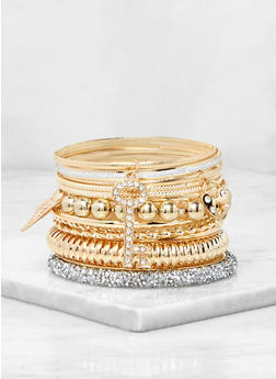 Plus Size Metallic Key Charm Bangles - 3194072693987