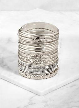 Plus Size Multi Textured Metallic Bangles - 3194072694003