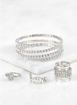 Rhinestone Coil Cuff with Ring Trio - 3194072694275