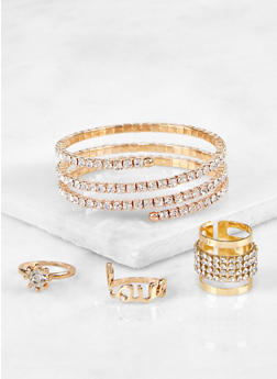 Rhinestone Coil Cuff with Ring Trio - 3194072694275