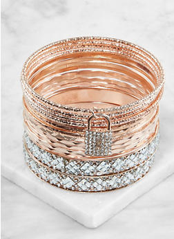Plus Size Textured Metallic Bangles - 3194072695741