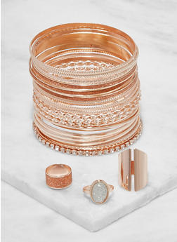 Plus Size Textured Metallic Bangles and Rings - 3194072697029