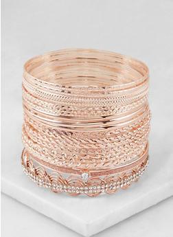 Plus Size Textured Metallic Bangles - 3194073843250