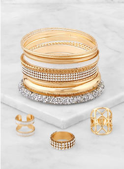 Druzy Bracelets with Ring Trio - 3194073843363