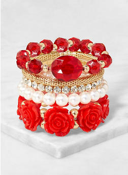 5 Rose Stretch Bracelets Set - 3194073843411