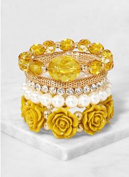 5 Rose Stretch Bracelets Set - 3194073843411