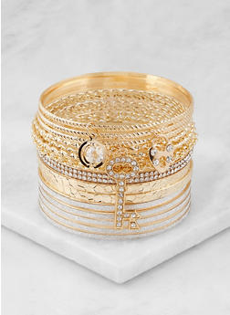 Plus Size Set of Multi Textured Bangles - 3194073843521