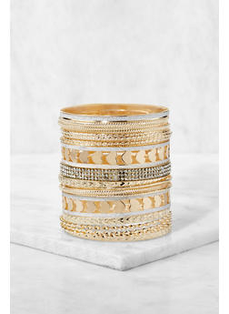 Plus Size Assorted Metallic Bangles - 3194073843523