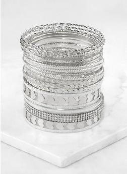 Plus Size Metallic Heart Bangles Set - 3194073843532