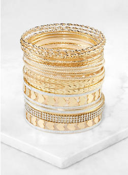 Plus Size Metallic Heart Bangles Set - 3194073843532