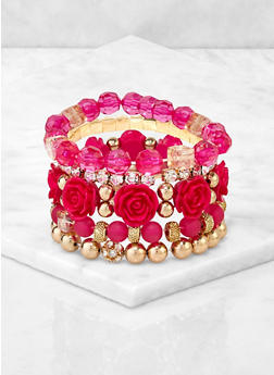 Assorted Rose Bead Stretch Bracelets - 3194073843772