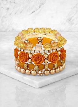 Assorted Rose Bead Stretch Bracelets - 3194073843772