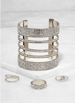 Rhinestone Metallic Cuff with Ring Trio - 3194073843856