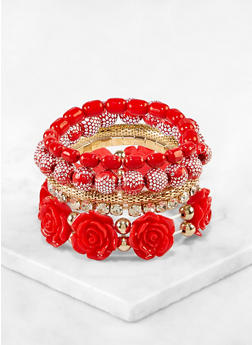 Rose Stretch Bracelets Set - 3194073843908