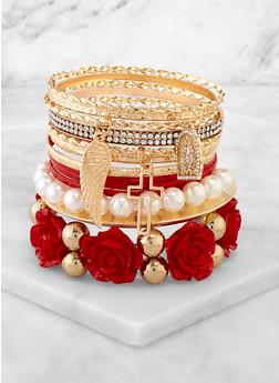 Assorted Stretch Bracelets and Bangles Set - 3194073849311