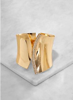 Rhinestone Trim Asymmetrical Cuff - 3194074171234