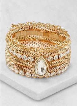Rhinestone Metallic Mesh Stretch Bracelets - 3194074172352