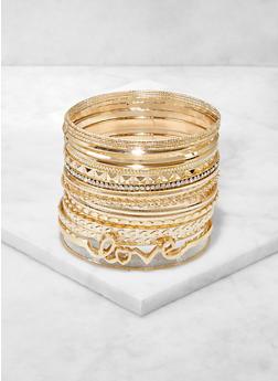 Plus Size Glitter Metallic Bangles Set - 3194074974022
