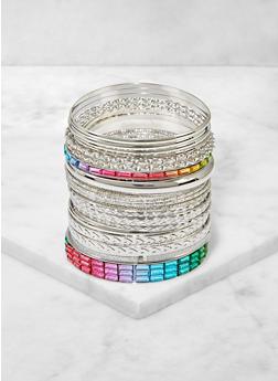 Multi Color Rhinestone Bangles Set - 3194074974026